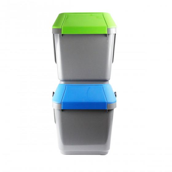 Poubelle de recyclage grise et bleue