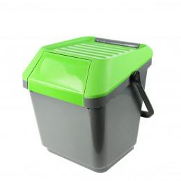 Poubelle de recyclage grise et verte