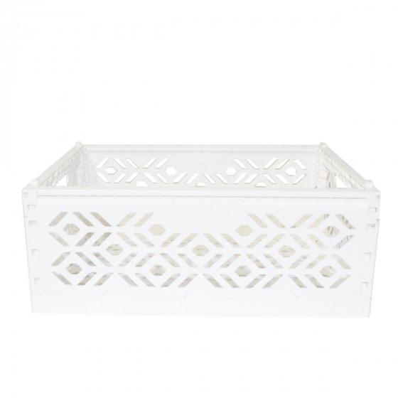 Cagette en plastique blanc empilable et pliable