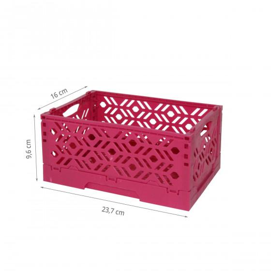 Mini Cagette en plastique violet empilable et pliable
