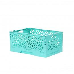 Mini Cagette en plastique turquoise empilable et pliable