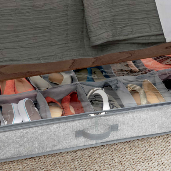 Rangement pour 12 paires de chaussures sous le lit