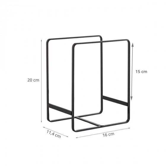 Rangement vertical pour grandes assiettes en métal noir.