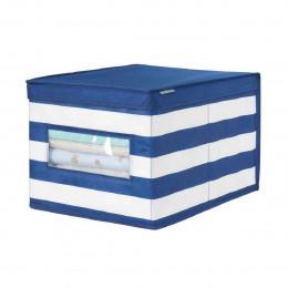 Boîte de rangement en tissu à rayuresavec fenêtre L
