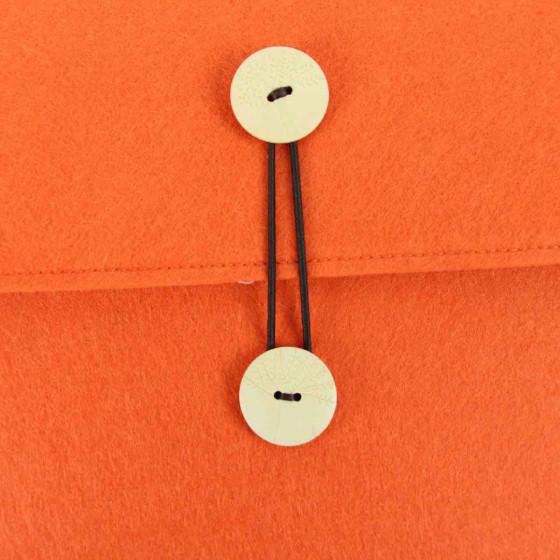 Pochette en feutre orange fluo