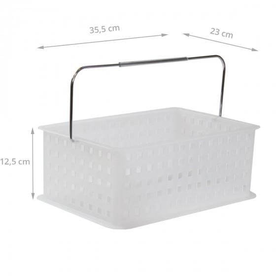 Panier M en plastique blanc translucide avec anse métallique