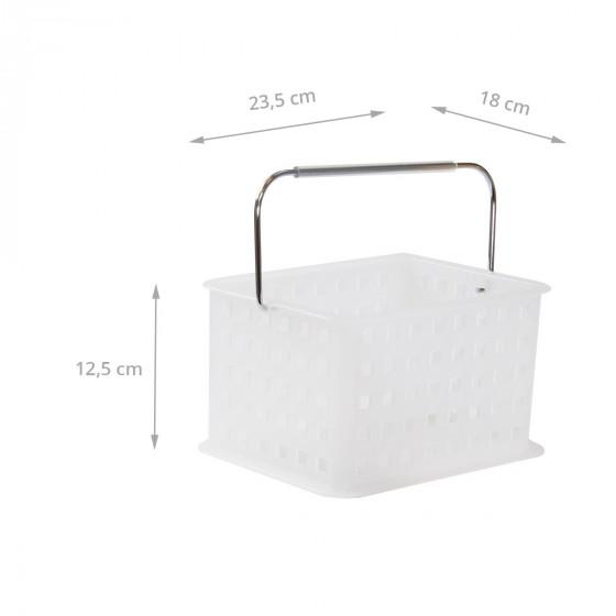 Panier S en plastique blanc translucide avec anse métallique