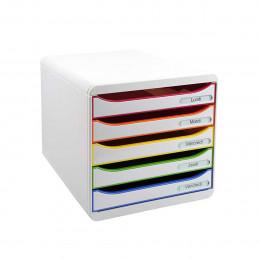 Bloc tiroir blanc à 5 compartiments