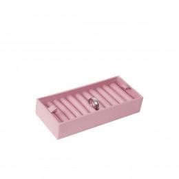 Plateau de rangement 20 bagues en tissu rose