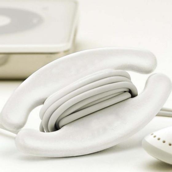 Enrouleur d'écouteurs crème