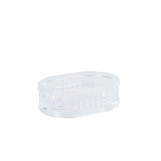 Porte-savon cannelé en plastique transparent