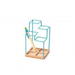 Pot à crayons design en métal peint bleu