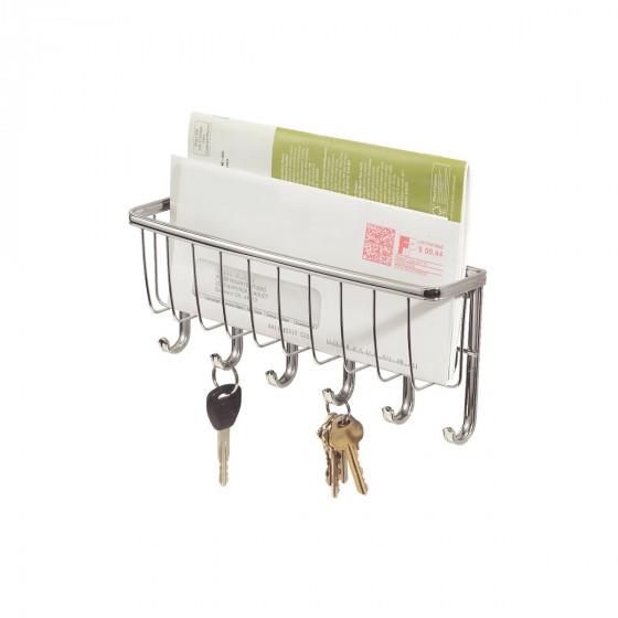 Porte courrier et clés mural en métal chromé