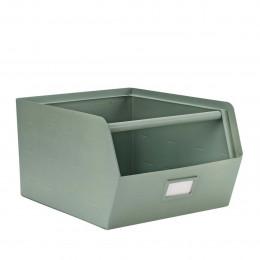 Casier de rangement empilable en métal vert