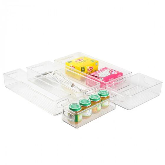 Long bac en plastique S transparent et empilable pour organiser placards et tiroirs