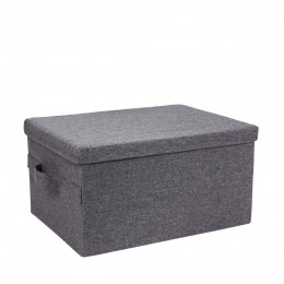 Boîte de rangement avec couvercle en tissu gris