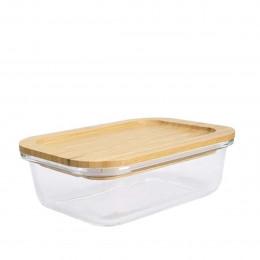 Boîte alimentaire en verre avec couvercle en bambou