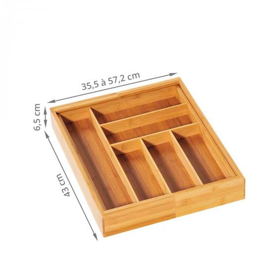 Range couverts extensible en bambou à 8 compartiments
