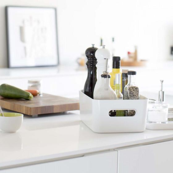 Boîte de rangement en plastique blanc pour cuisine ou salle de bain M