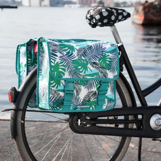Double sacoche imperméable pour vélo à motifs feuilles