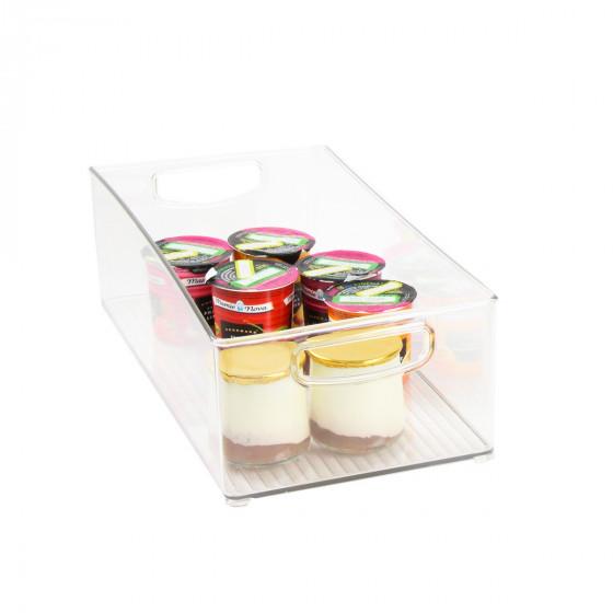 Haut bac en plastique L transparent et empilable pour organiser placards et tiroirs