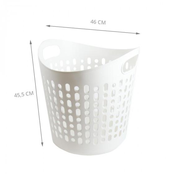 Panier à linge en plastique souple et ajouré blanc. Taille L