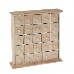 Calendrier de l'Avent bois 25 tiroirs