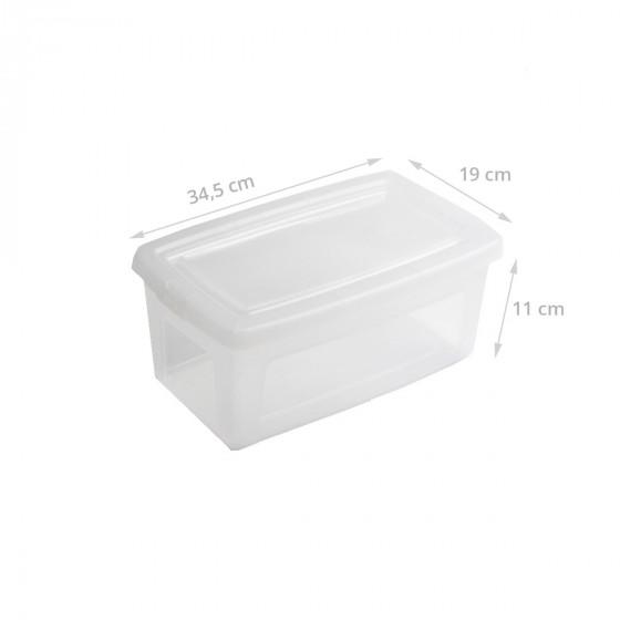 Boîte en plastique transparent avec couvercle. (XS)