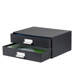 Boîte à 2 tiroirs en carton gris anthracite