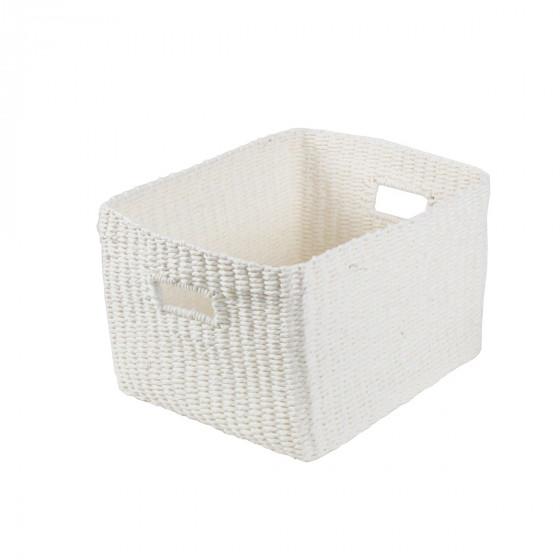 Grand panier rectangulaire tressé en papier blanc. L