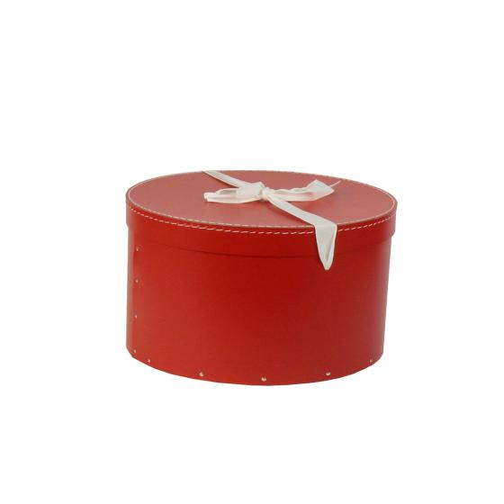 Boîte à chapeaux rouge avec ruban blanc (M)