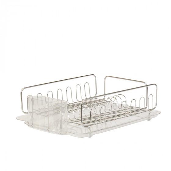 Egouttoir en inox avec un plateau en plastique transparent et bac à couverts