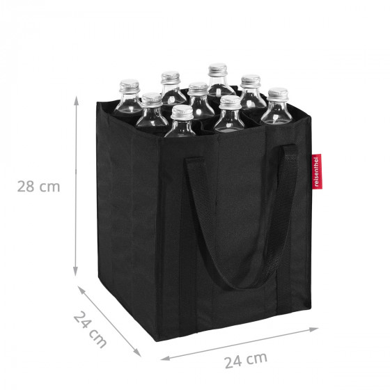 Sac à bouteilles en tissu noir avec 9 compartiments