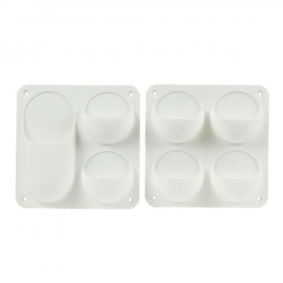 2 Organiseurs muraux en plastique blanc avec 4 compartiments