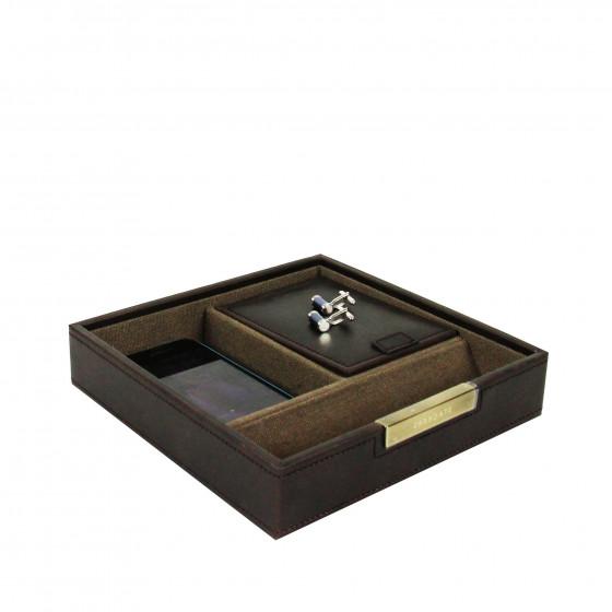 Vide poche à compartiments en simili cuir marron