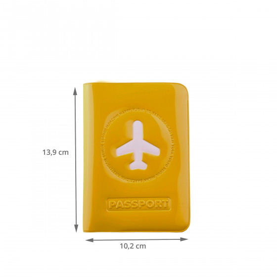 Protège passeport jaune moutarde brillant