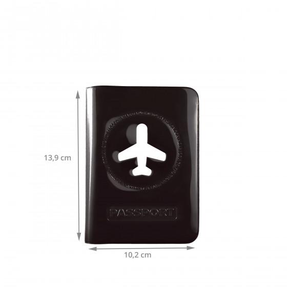 Protège passeport noir brillant