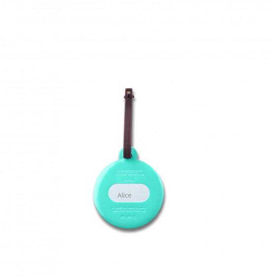 Etiquette de bagage ronde en plastique turquoise