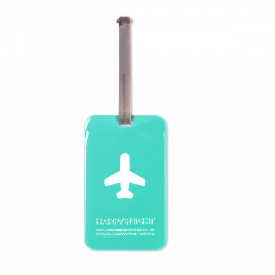 Etiquette de bagage rectangulaire en plastique turquoise
