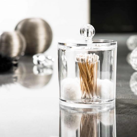 Boîte à coton tiges et coton  en acrylique transparent