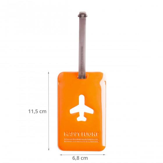 Etiquette de bagage rectangulaire en plastique orange