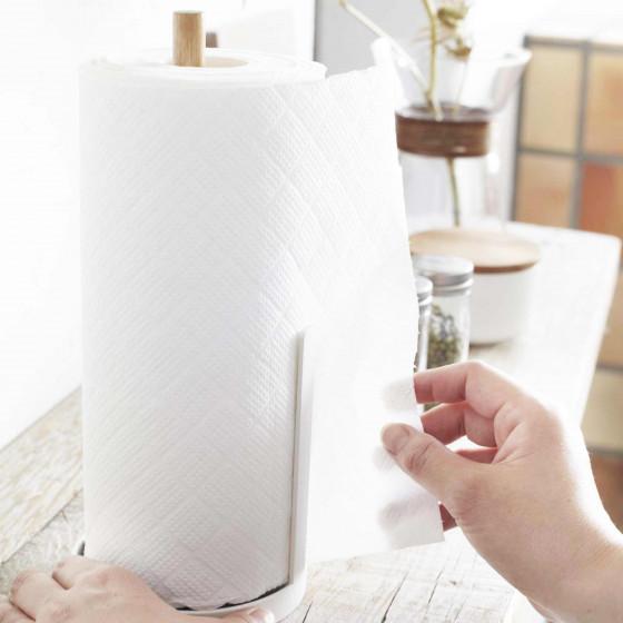 Support essuie-tout en métal blanc et bois