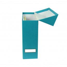 Boîte de classement en carton turquoise