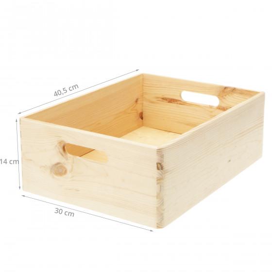 Caisse de rangement en pin brut. Taille M