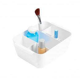 Bac de rangement maquillage à compartiments blanc