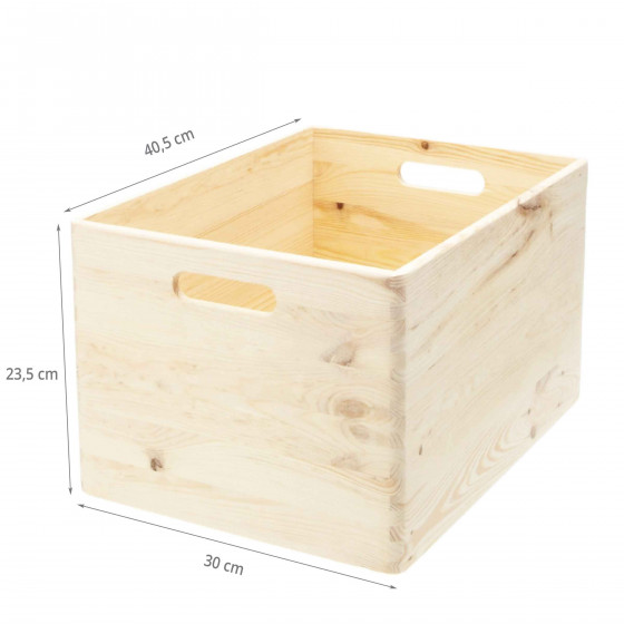 Caisse de rangement en bois. Taille L