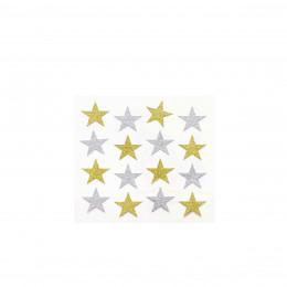 16 stickers étoiles pailletés