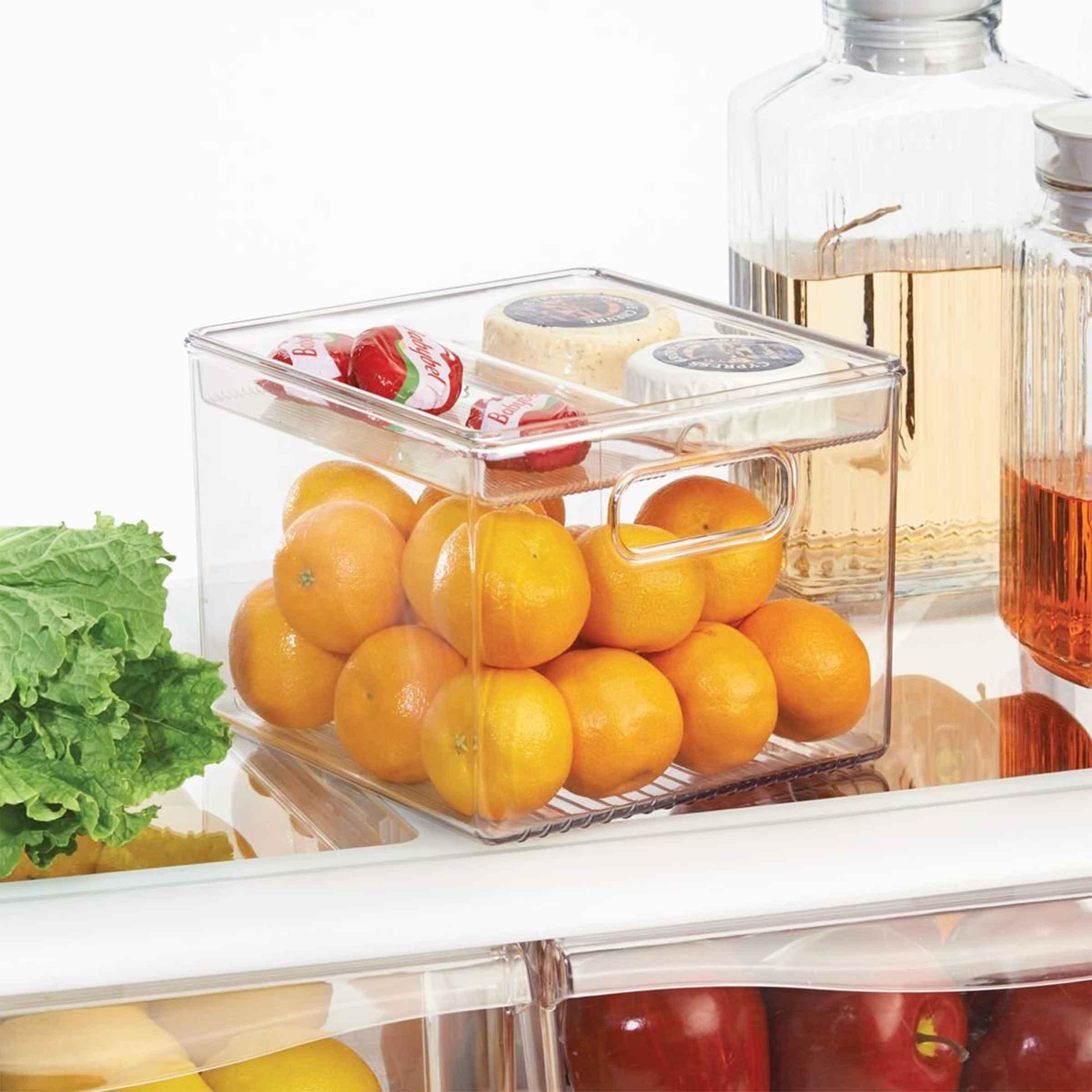 boîte de rangement pour frigo en plastique transparent