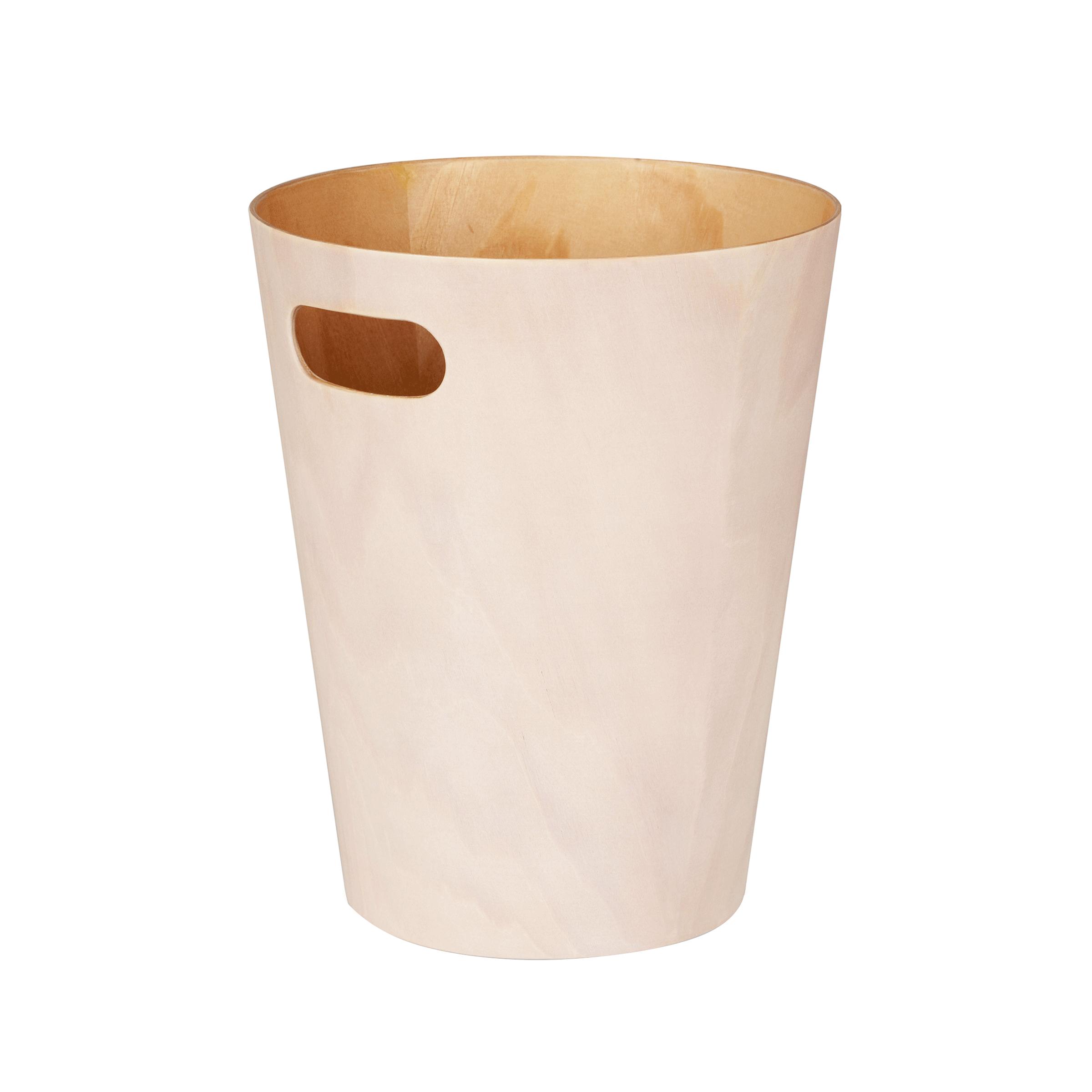 Corbeille à papier en bois crème pour bureau