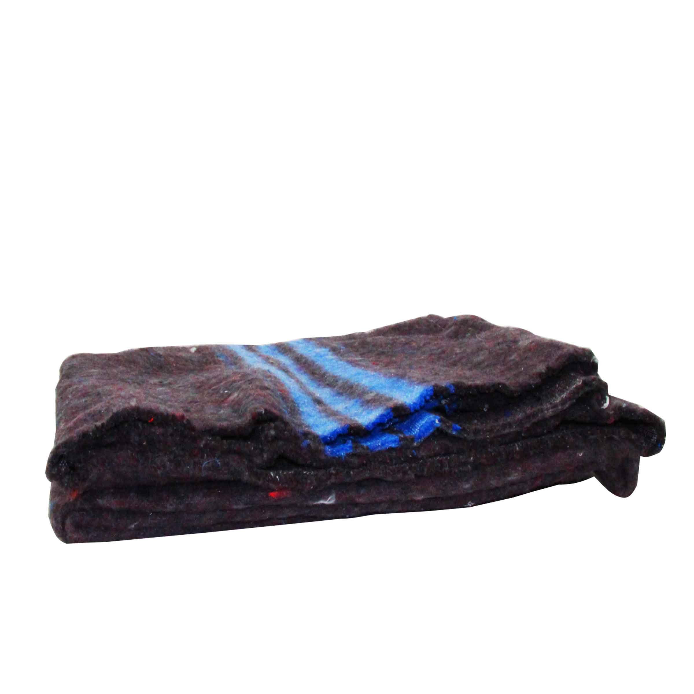 grande couverture de protection en fibres longues tissés avec un liseré bleu
